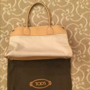 TOD'S LEATHER/CANVAS TOTE BAG/SHOPPER